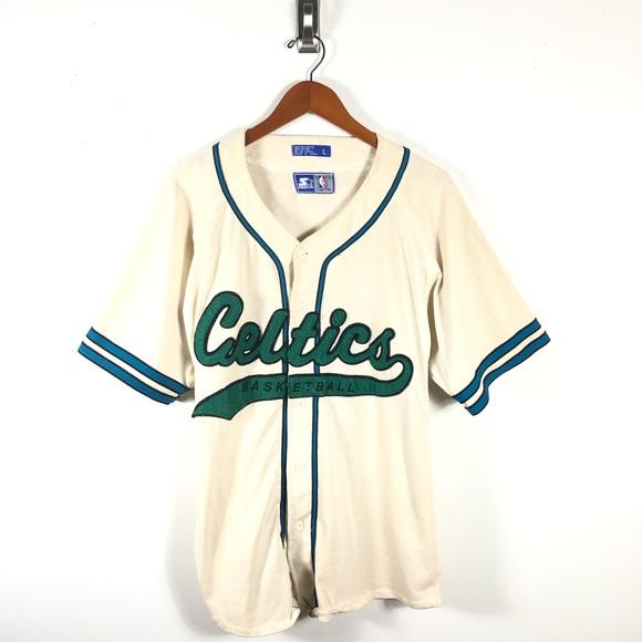 617e52ff0612 Vintage Boston Celtics Starter Baseball Jersey. M 5c06c238bb76155f5cd603a1